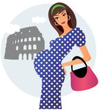 Pregnant in Rome. Young pregnant woman travels in Rome Stock Images