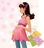Pregnant shopper stock illustration