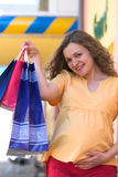 Pregnant shopper Royalty Free Stock Images