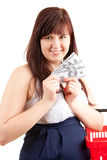 Pregnant shopping woman with dollars Stock Photography
