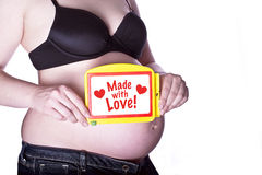 Pregnant Sign With Love Stock Photo