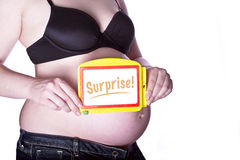 Pregnant Sign Surprise Stock Images