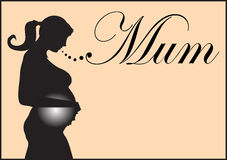Pregnant silhouette. Black silhouette of pregnant woman Royalty Free Stock Images