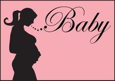 Pregnant silhouette. Black silhouette of pregnant woman Royalty Free Stock Photos