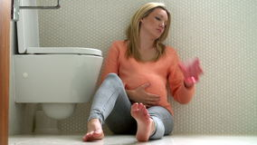 Pregnant Teenage Girl Suffering From Morning Sickness stock footage