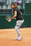 Pregnant tennis coach and two times Grand Slam Champion Amelie Mauresmo supervise Andy Murray practice at Roland Garros 2015. PARIS, FRANCE- MAY 25, 2015 Royalty Free Stock Photos