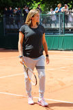 Pregnant tennis coach and two times Grand Slam Champion Amelie Mauresmo supervise Andy Murray practice at Roland Garros 2015. PARIS, FRANCE- MAY 25, 2015 Royalty Free Stock Photo
