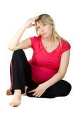 Pregnant thinking woman Royalty Free Stock Photo