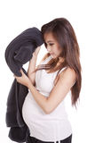 Pregnant towel against head Stock Photography