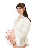 Pregnant with toy Royalty Free Stock Photo
