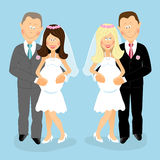 Pregnant wedding couples Stock Image