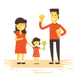 Pregnant wife with elder daughter royalty free illustration
