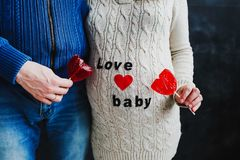 Pregnant wife with husband. Pregnant woman. Family couple waiting for baby. royalty free stock photography