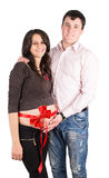 Pregnant wife, a woman with her husband. Pregnant wife, a women with her husband isolated on white background royalty free stock photos