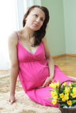 Pregnant woman. Nine month pregnant beautiful woman holding her belly Stock Photography