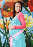 Pregnant woman. Nine month pregnant beautiful woman holding her belly Royalty Free Stock Images