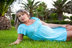 Pregnant woman. The beremenaja woman has a rest in park Royalty Free Stock Photography