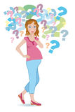 Pregnant woman. Continuous questions for an expectant mother on a white background Royalty Free Stock Photo