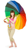 A pregnant woman. With body painting under an umbrella Royalty Free Stock Photo