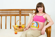 A pregnant woman. With body painting Royalty Free Stock Photos
