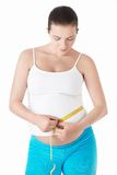 Pregnant woman. Measuring belly centimeter on a white background Stock Photos