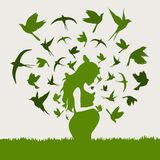 Pregnant woman. From the pregnant woman birds take off. A vector illustration Stock Image