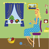 Pregnant woman. Pregnunt woman knitting cloth for child vector illustration