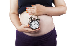 Pregnant woman with an alarm clock Royalty Free Stock Photos