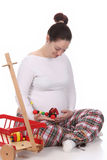 Pregnant Woman And Toys Stock Image