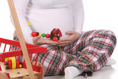 Pregnant Woman And Toys Royalty Free Stock Images