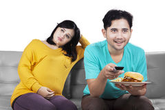 Pregnant woman angry at her husband Stock Image