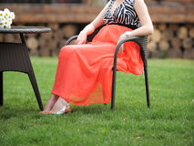 Pregnant Woman in Armchair Stock Image