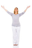 Pregnant woman arms outstretched royalty free stock images