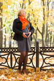 Pregnant woman in autumn park Stock Images