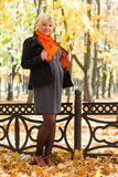 Pregnant woman in autumn park Stock Photo