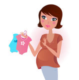 Pregnant woman awaiting baby boy or girl. Happy pregnant mother awaiting her baby with love. Vector Illustration Royalty Free Stock Photo