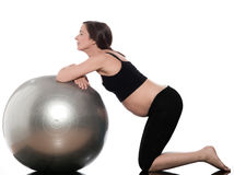 Pregnant Woman Ball Exercise stock photos