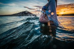 Pregnant Woman Bathing In The Sea Royalty Free Stock Photos