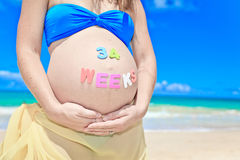Pregnant woman at beach Stock Photography