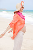 Pregnant woman at the beach Royalty Free Stock Photo