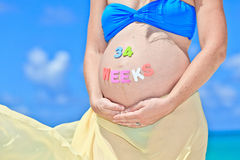 Pregnant woman at beach Royalty Free Stock Image