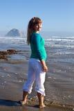 Pregnant woman on beach Stock Photo
