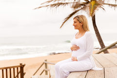 Pregnant woman beach Royalty Free Stock Images