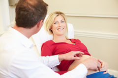 Pregnant Woman Being Given Ante Natal Check By Doctor. In Medical Room Looking At Each Other Smiling Royalty Free Stock Photos