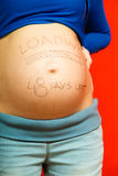 Pregnant woman belly with drawings Royalty Free Stock Photography