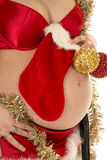 Pregnant woman belly up close Christmas outfit Royalty Free Stock Images