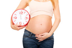 Pregnant woman with a big clock Stock Image