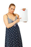 Pregnant woman with blank paper Stock Photography