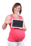 Pregnant woman with blck board Royalty Free Stock Photos