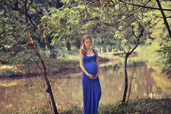 A pregnant woman in a blue dress on the nature Royalty Free Stock Photography